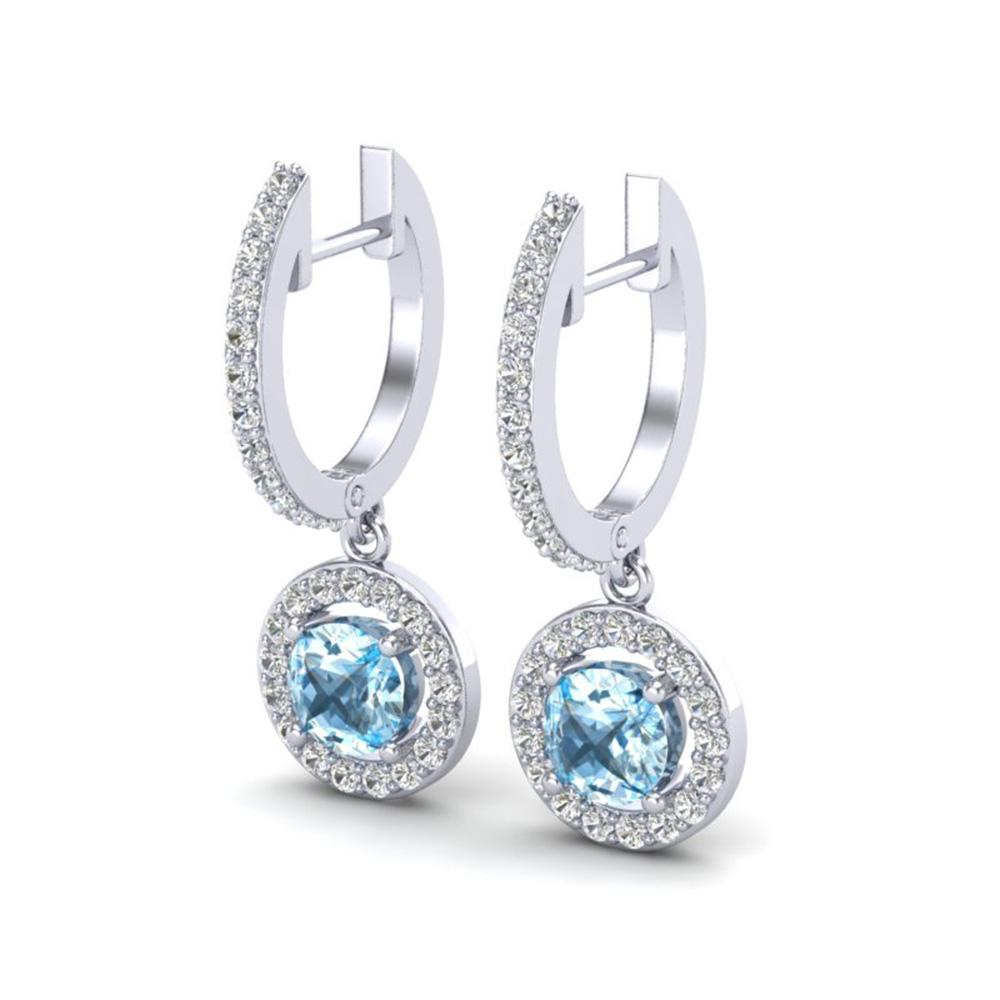 1.75 ctw Sky Topaz & Micro Pave VS/SI Diamond Earrings 18k White Gold - REF-82W8H