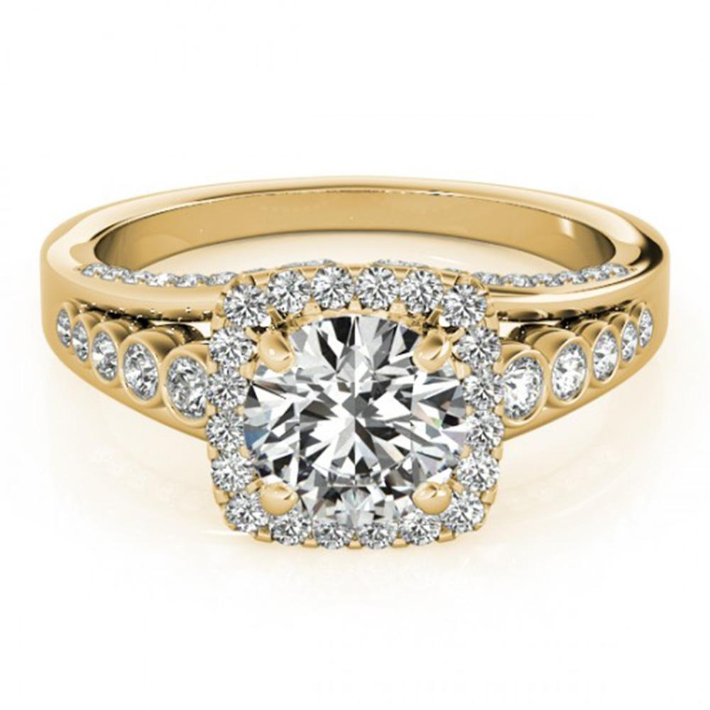 1.5 ctw Certified VS/SI Diamond Solitaire Halo Ring 14k Yellow Gold - REF-168M2G