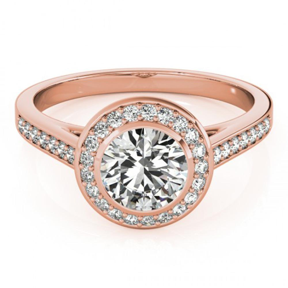 1.3 ctw Certified VS/SI Diamond Halo Ring 14k Rose Gold - REF-273K4Y