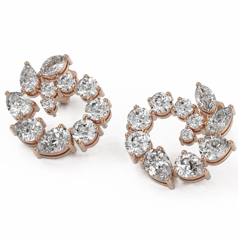 5.31 ctw Mix cut Diamonds Designer Earrings 18K Rose Gold - REF-739R8K