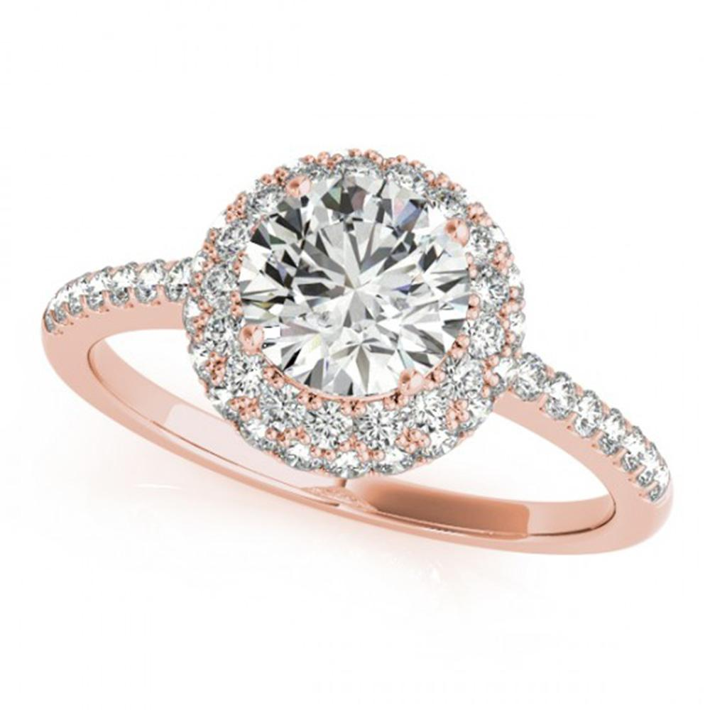 2.15 ctw Certified VS/SI Diamond Solitaire Halo Ring 14k Rose Gold - REF-499F6M