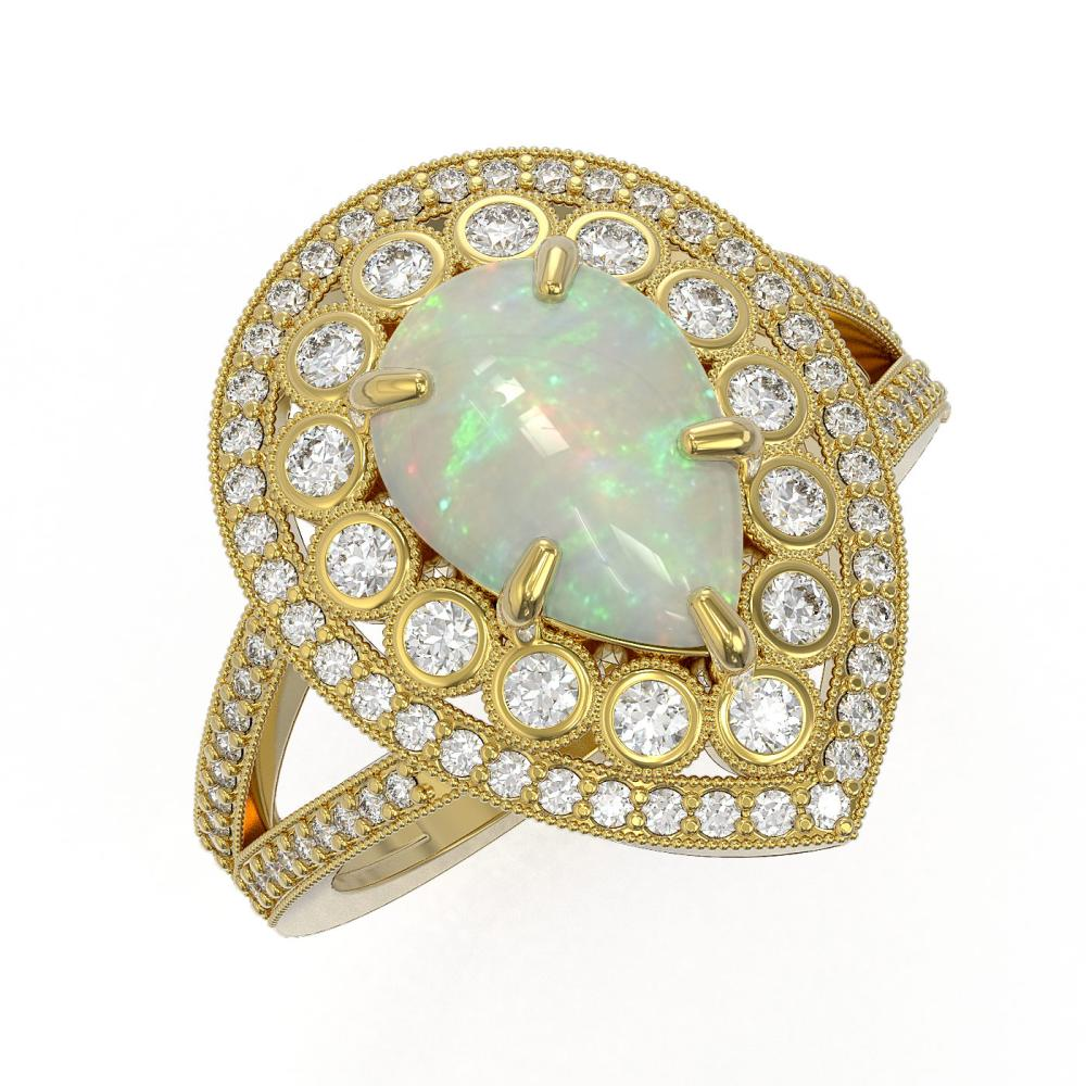 4.19 ctw Certified Opal & Diamond Victorian Ring 14K Yellow Gold - REF-148H2R