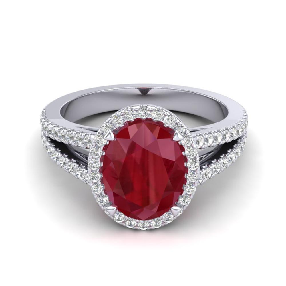 3 ctw Ruby & Micro Pave VS/SI Diamond Halo Ring 18k White Gold - REF-78R2K