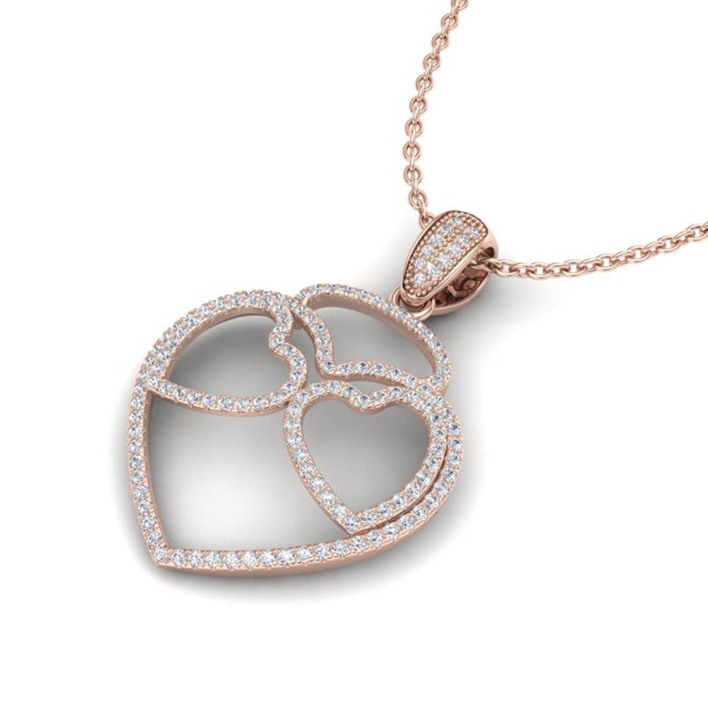 1.20 ctw Micro Pave VS/SI Diamond Heart Necklace 14k Rose Gold - REF-110N9F