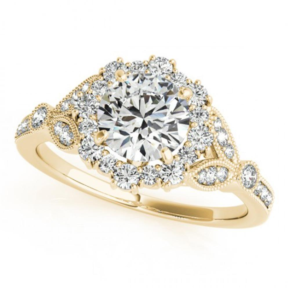 1.5 ctw Certified VS/SI Diamond Halo Ring 14k Yellow Gold - REF-276G4W