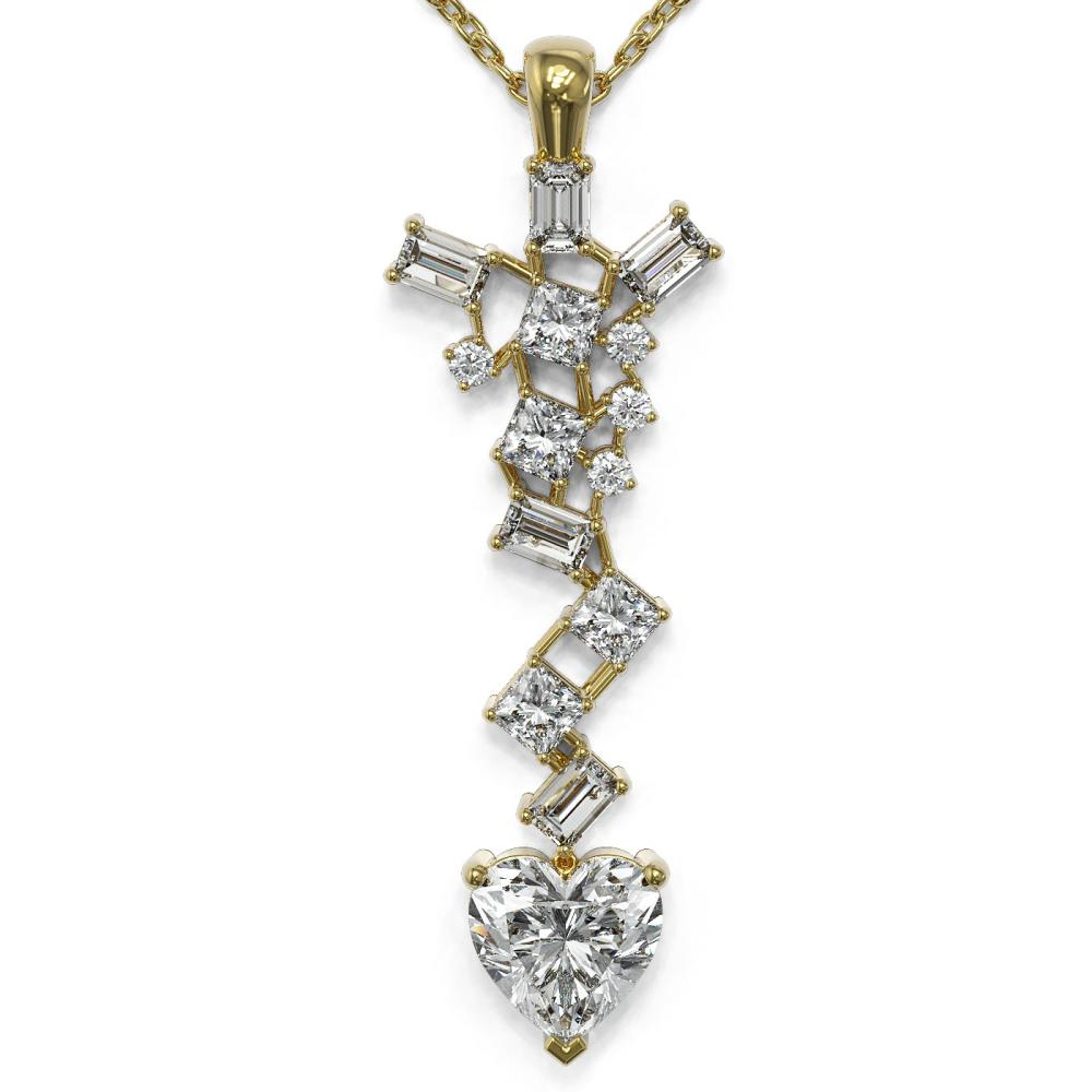 2.2 ctw Heart Diamond Designer Necklace 18K Yellow Gold - REF-509W9H