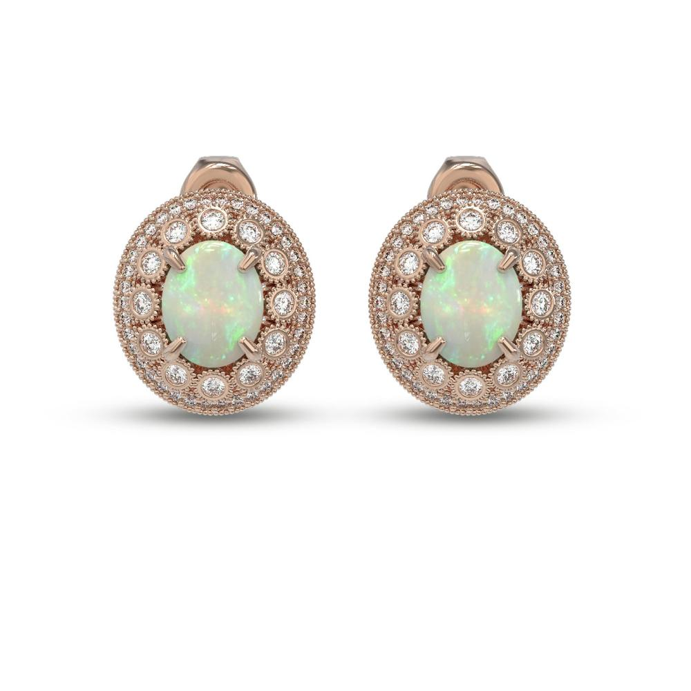 7.4 ctw Certified Opal & Diamond Victorian Earrings 14K Rose Gold - REF-227A8N