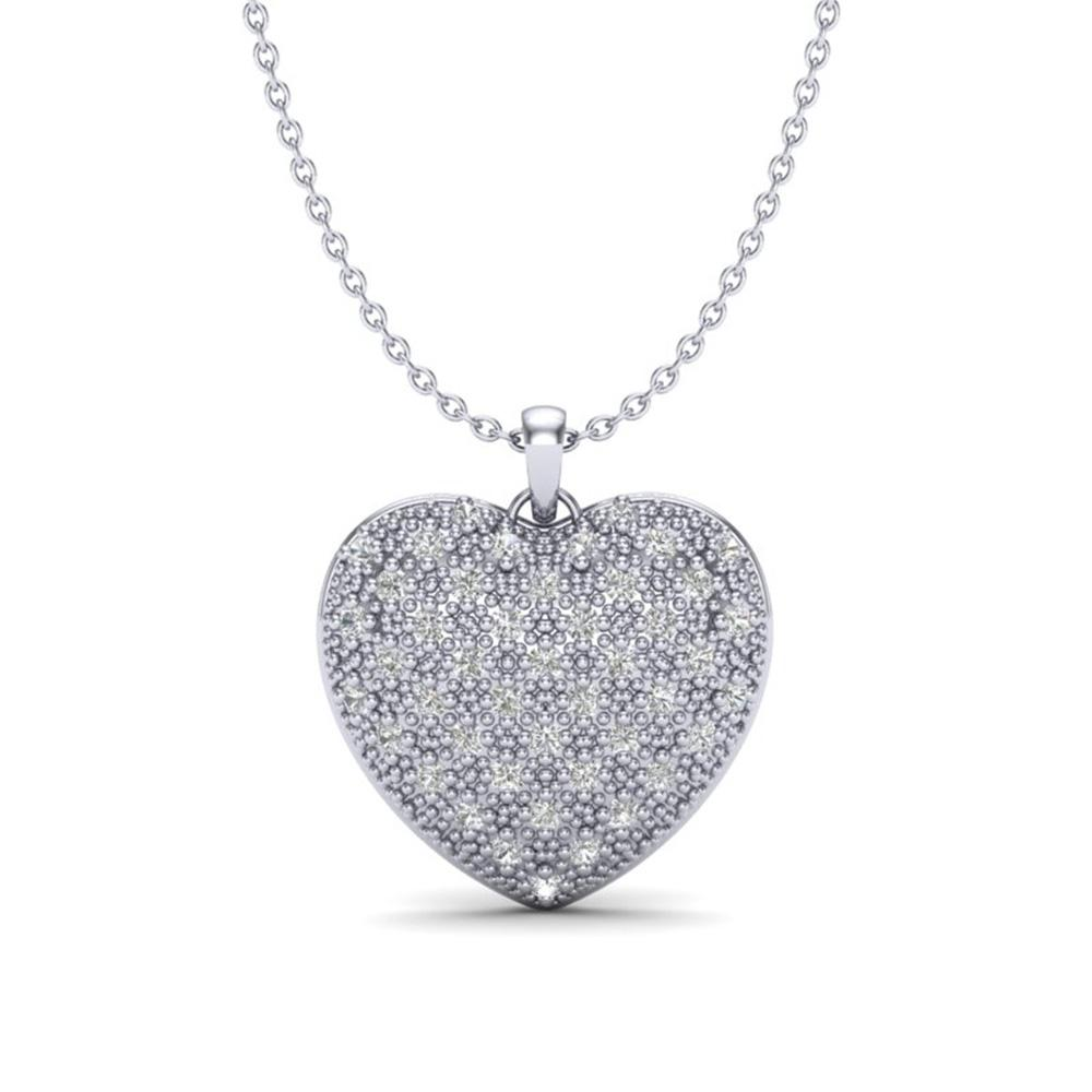1.0 ctw Micro Pave VS/SI Diamond Heart Necklace 14k White Gold - REF-87R3K
