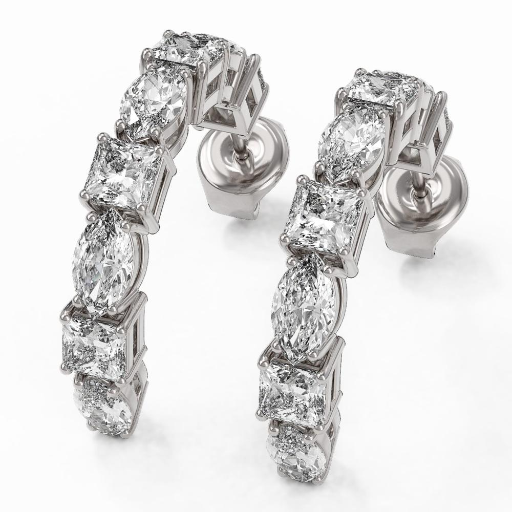 4.16 ctw Princess Cut Diamond Designer Earrings 18K White Gold - REF-445W2H