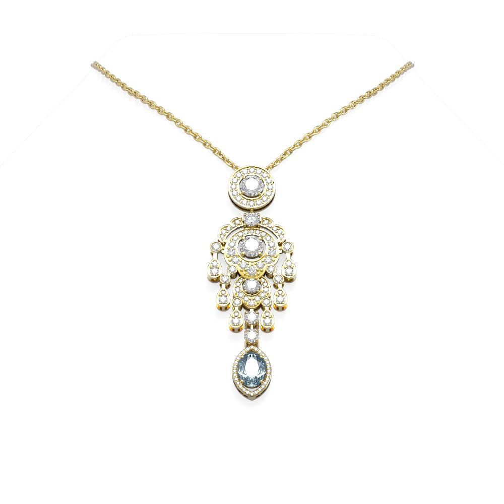 6.64 ctw Aquamarine & Diamond Necklace 18K Yellow Gold - REF-781F8M
