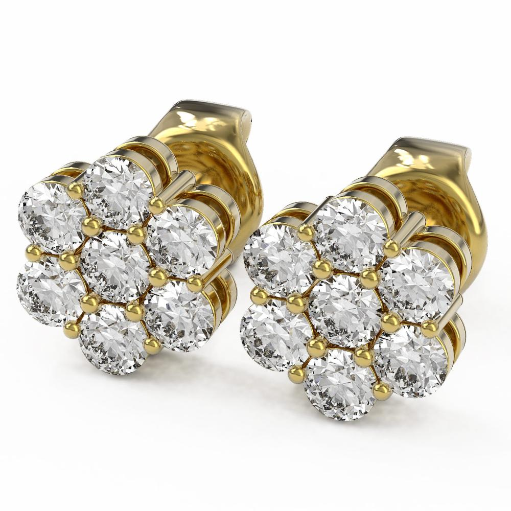 1 ctw Diamond Designer Earrings 18K Yellow Gold - REF-68M2G