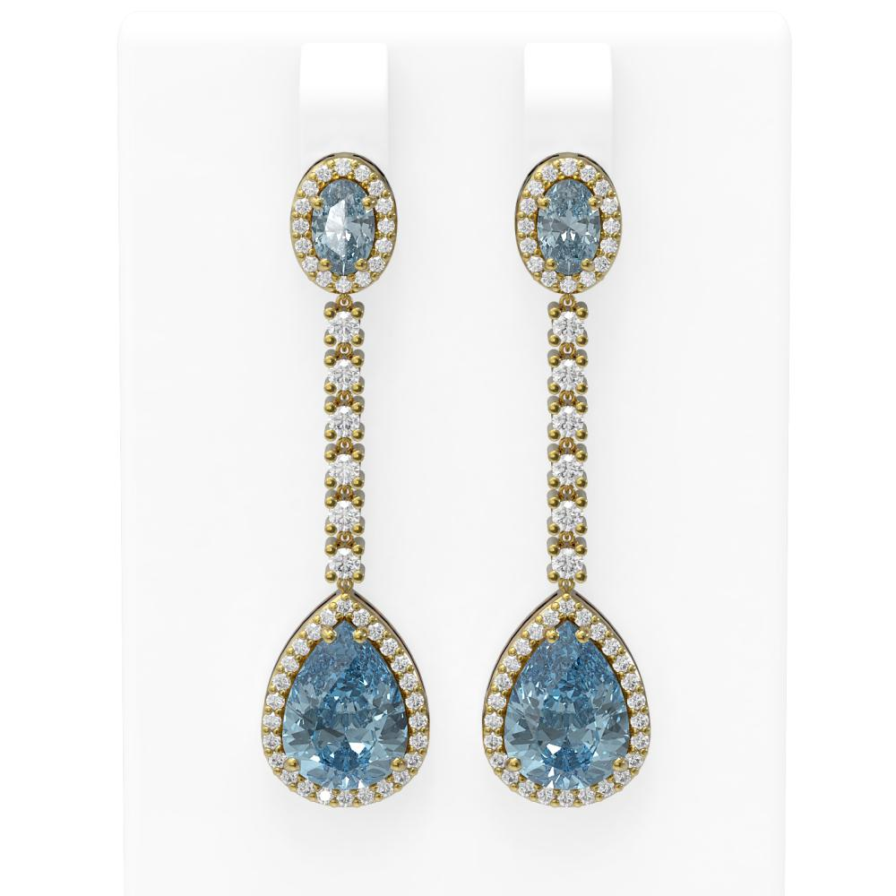 7.27 ctw Blue Topaz & Diamond Earrings 18K Yellow Gold - REF-170G2W