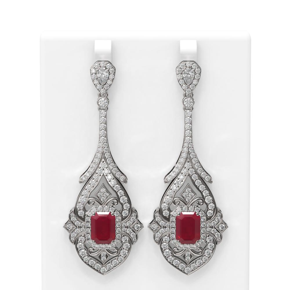 21.55 ctw Ruby & Diamond Earrings 18K White Gold - REF-890R9K