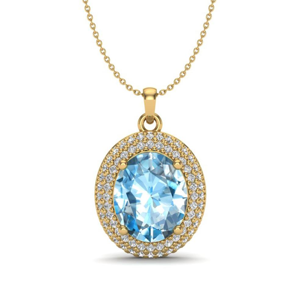 5 ctw Sky Blue Topaz & Micro Pave Diamond Necklace 18k Yellow Gold - REF-92M5G