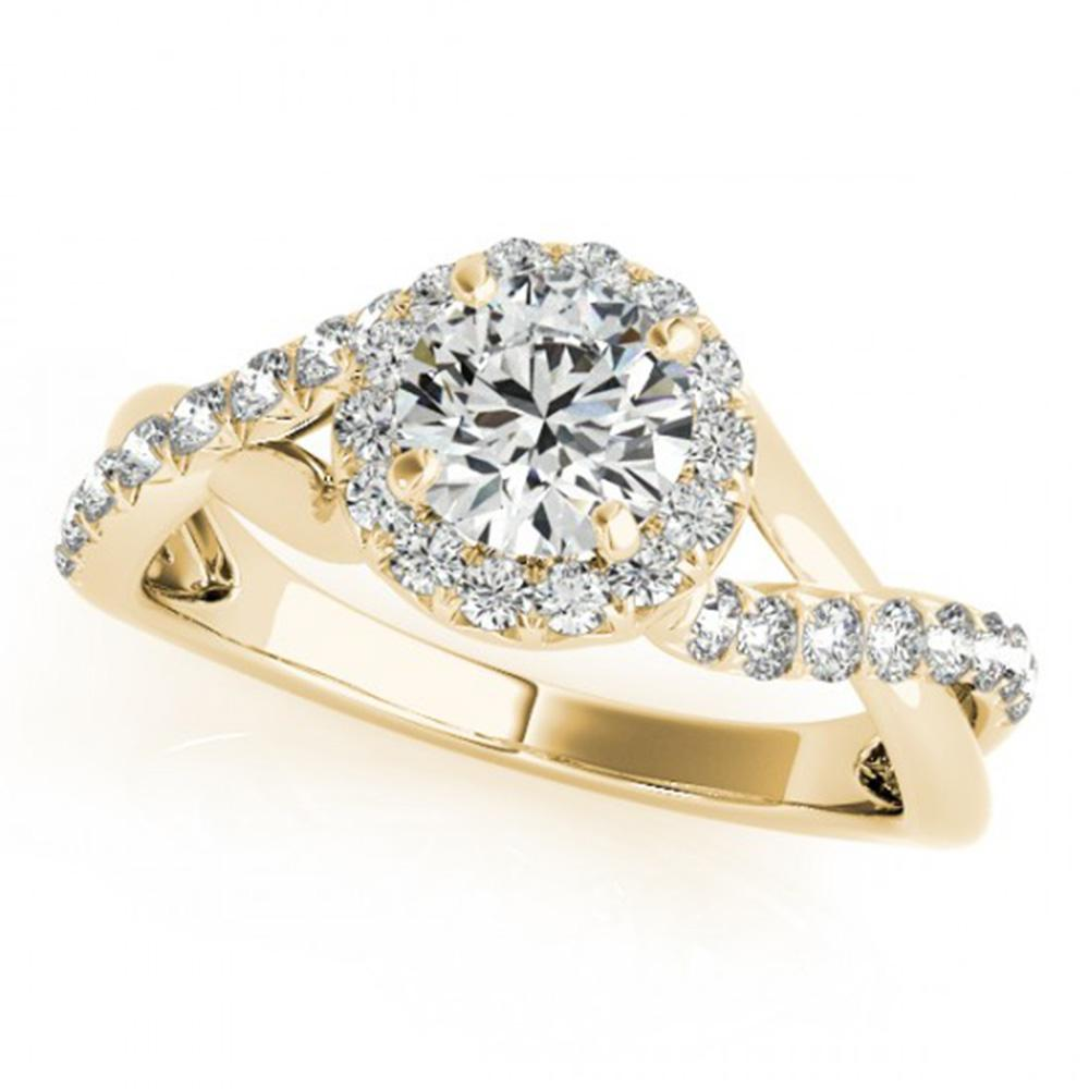 0.75 ctw Certified VS/SI Diamond Solitaire Halo Ring 14k Yellow Gold - REF-66H3R
