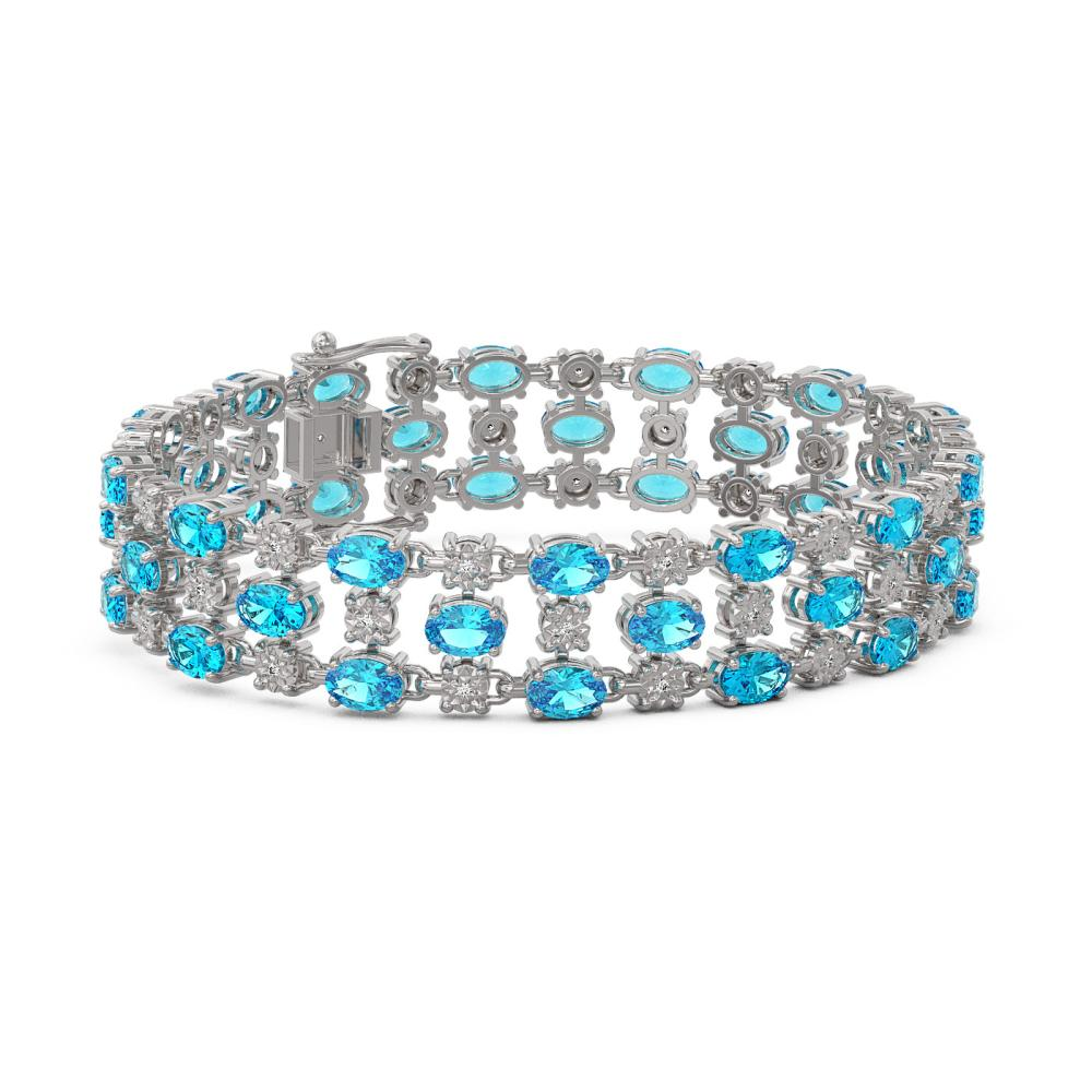 16.06 ctw Swiss Topaz & Diamond Row Bracelet 10K White Gold - REF-209R3K