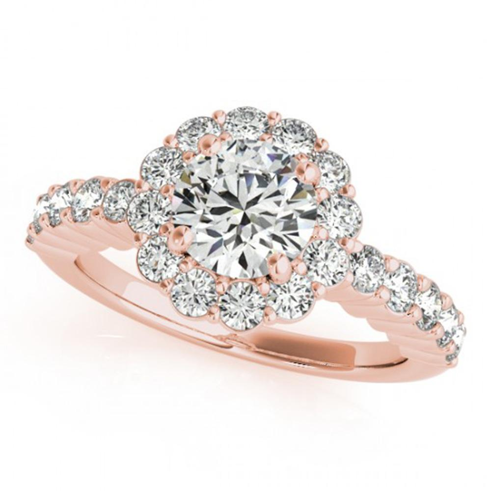 1.75 ctw Certified VS/SI Diamond Solitaire Halo Ring 14k Rose Gold - REF-289H2R