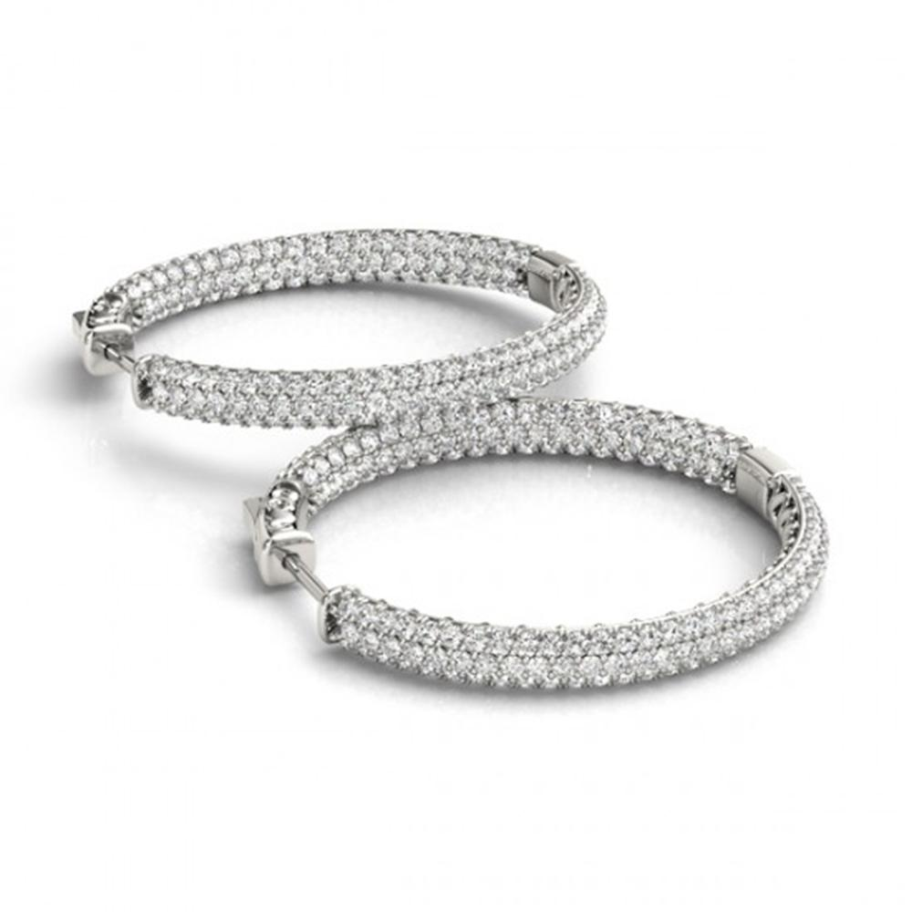 3 ctw Diamond VS/SI 35 MM Hoop Earrings Micro Pave 14k White Gold - REF-239W8H