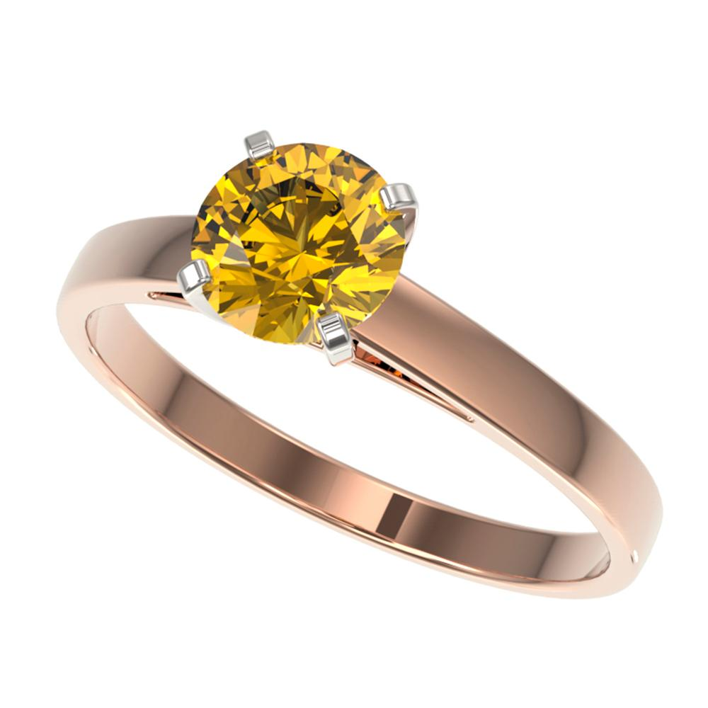 1 ctw Certified Intense Yellow Diamond Engagment Ring 10k Rose Gold - REF-163Y2X