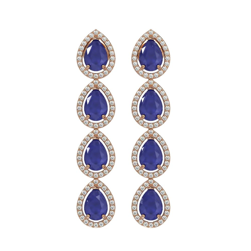 10.2 ctw Sapphire & Diamond Micro Pave Halo Earrings 10k Rose Gold - REF-155M5G