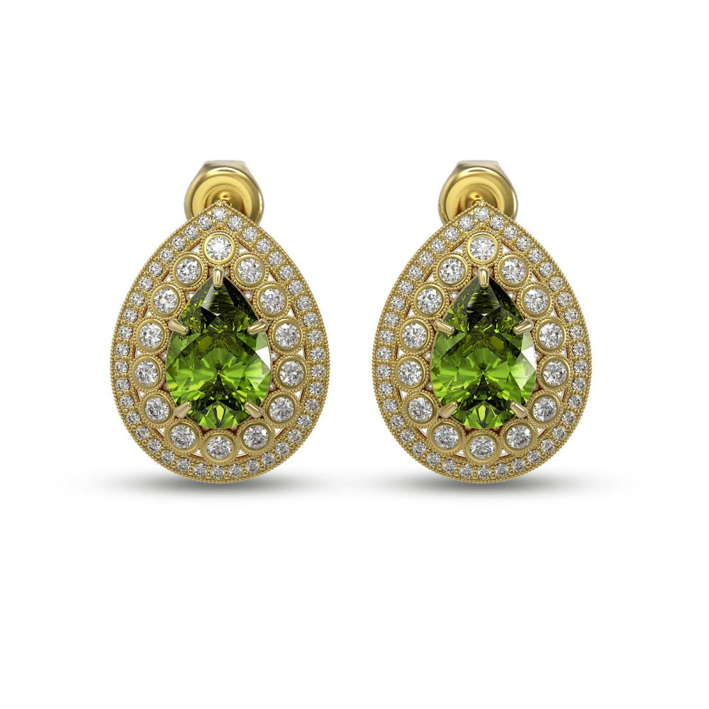 9.54 ctw Tourmaline & Diamond Victorian Earrings 14K Yellow Gold - REF-225N8F
