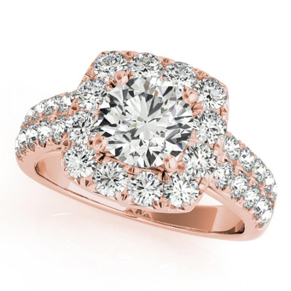 2 ctw Certified VS/SI Diamond Solitaire Halo Ring 14k Rose Gold - REF-188H2R