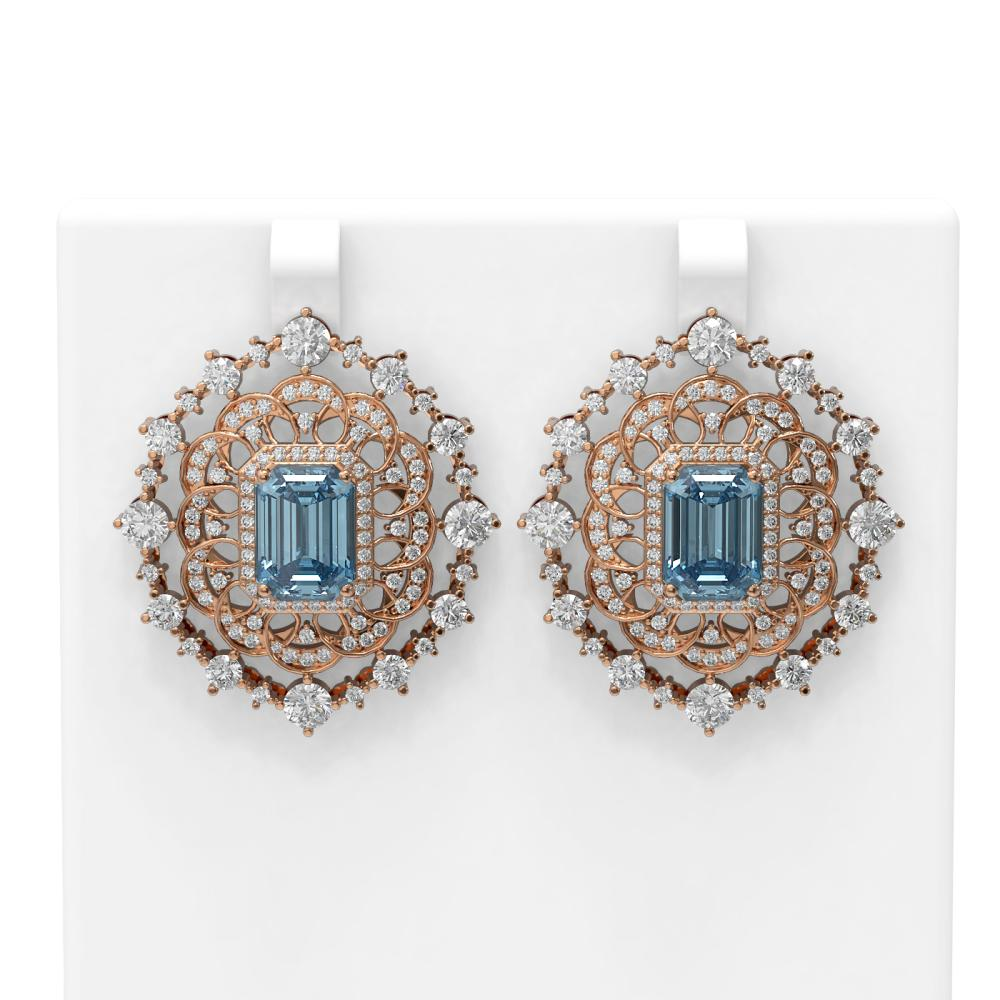 15.59 ctw Blue Topaz & Diamond Earrings 18K Rose Gold - REF-629X3A