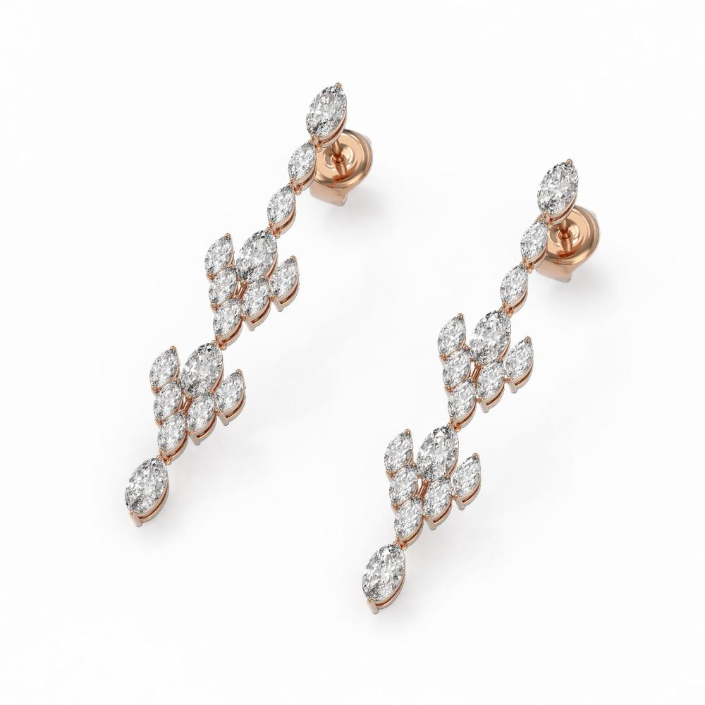 5.28 ctw Oval & Marquise Diamond Earrings 18K Rose Gold - REF-613Y3X