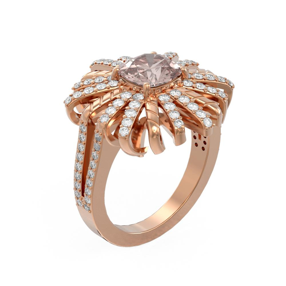 2.83 ctw Morganite & Diamond Ring 18K Rose Gold - REF-176F9M
