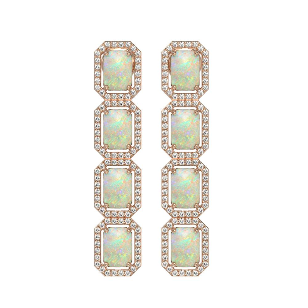 7.93 ctw Opal & Diamond Micro Pave Halo Earrings 10k Rose Gold - REF-162R2K