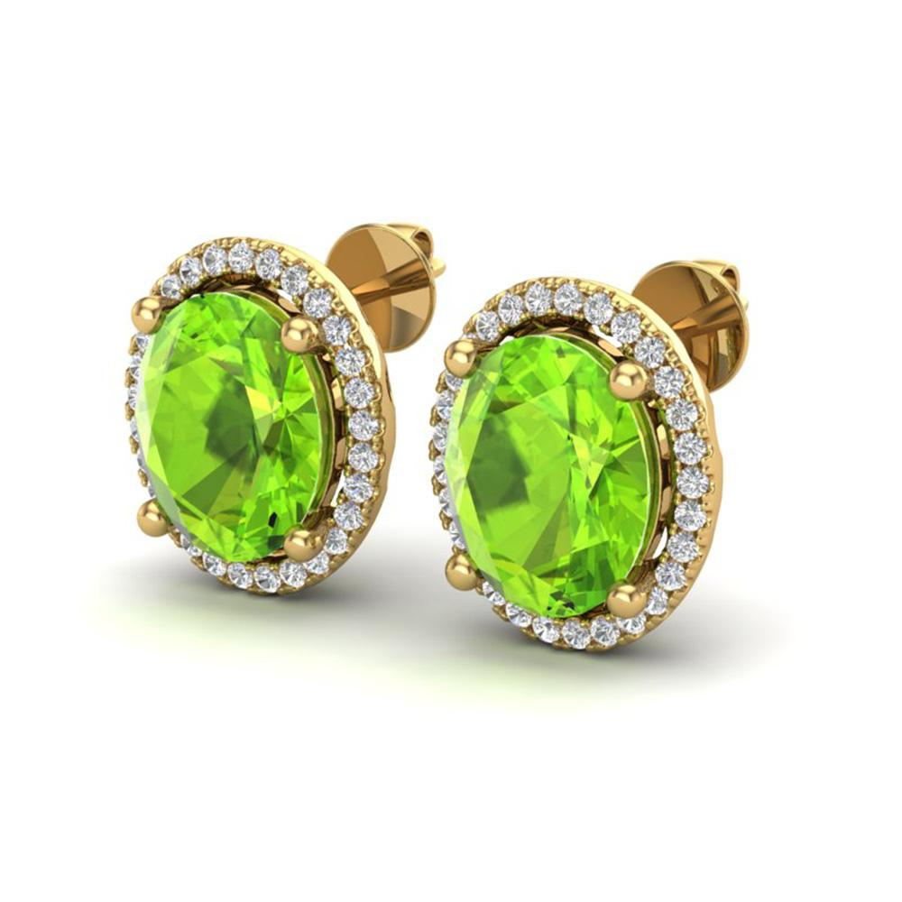 5 ctw Peridot & Micro Pave VS/SI Diamond Earrings 18k Yellow Gold - REF-82Y2X