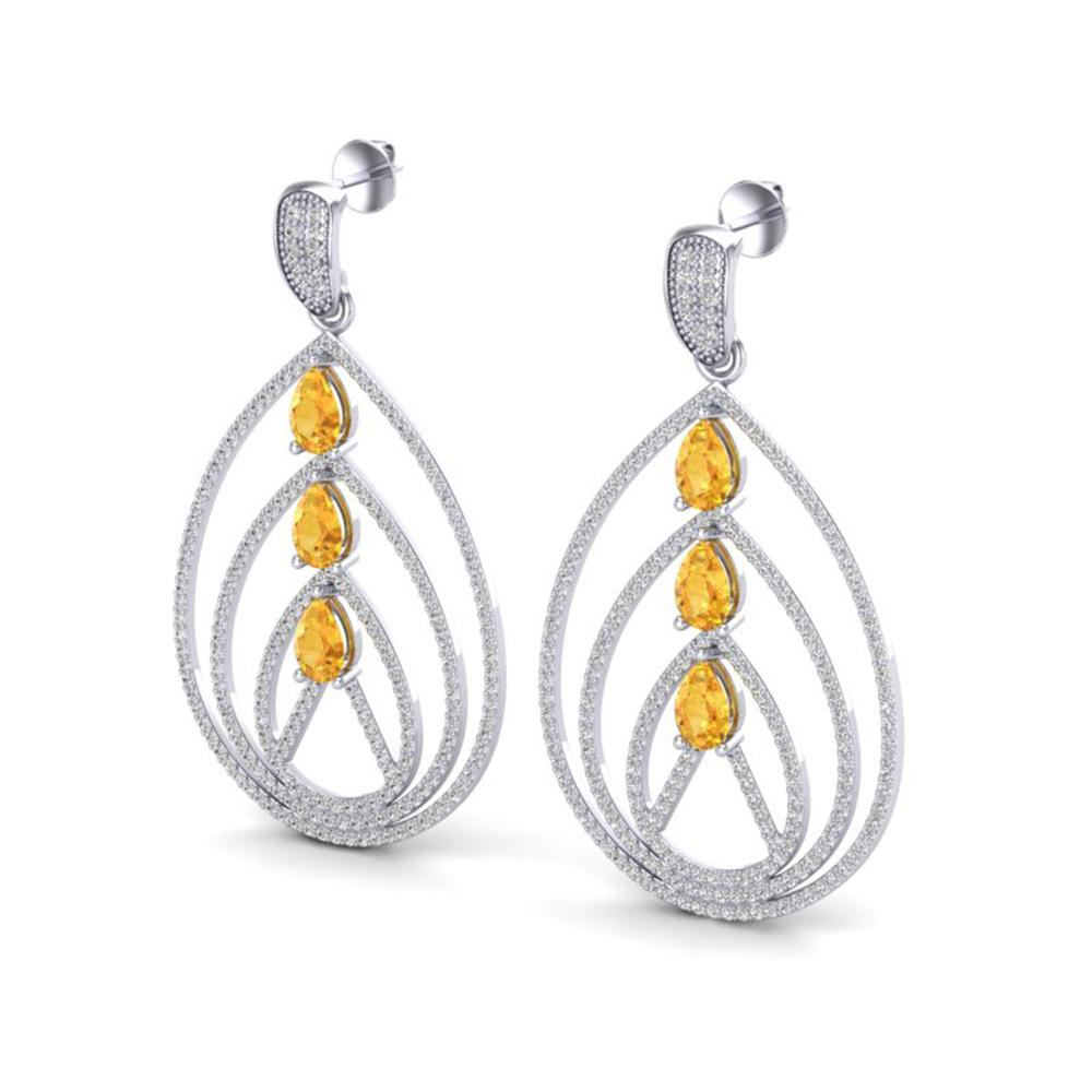 4 ctw Citrine & Micro Pave VS/SI Diamond Earrings 18k White Gold - REF-307A3N