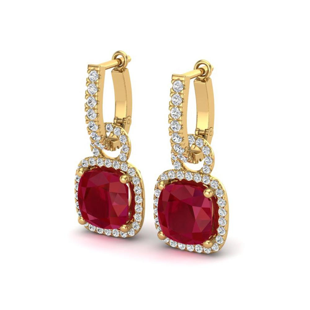 6 ctw Ruby & Micro Pave VS/SI Diamond Certified Earrings 18k Yellow Gold - REF-118K9Y
