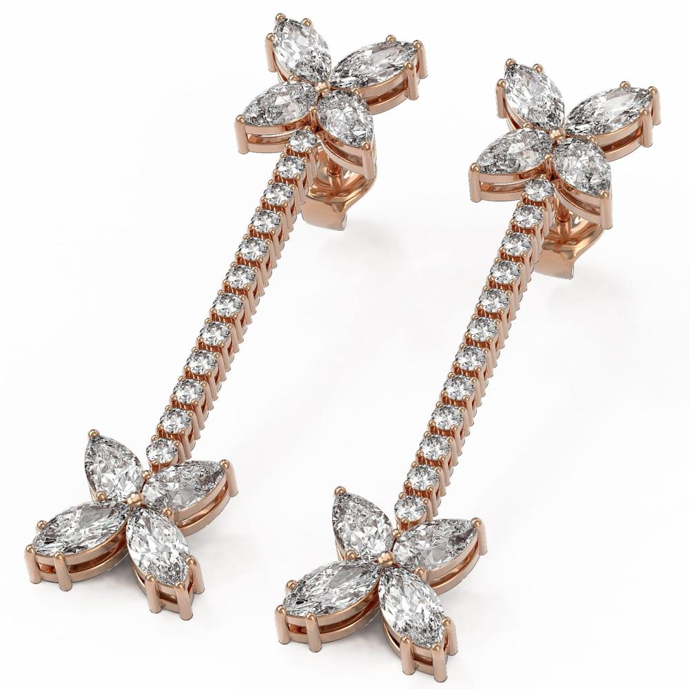 5.22 ctw Pear Diamond Designer Earrings 18K Rose Gold - REF-653A6N