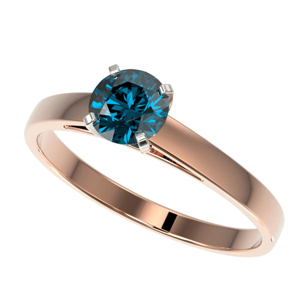0.76 ctw Certified Intense Blue Diamond Engagment Ring 10k Rose Gold - REF-57A8N