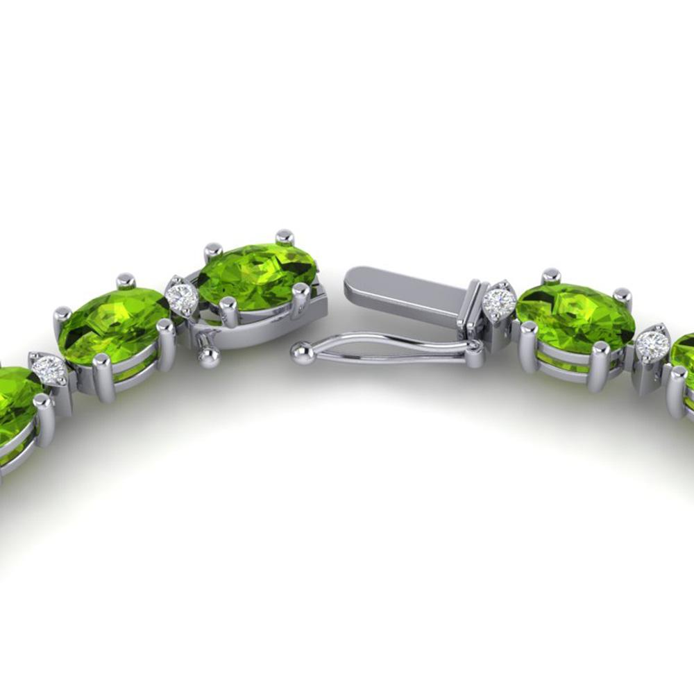 34 ctw Peridot & VS/SI Diamond Certified Necklace White 10k White Gold - REF-213F6M
