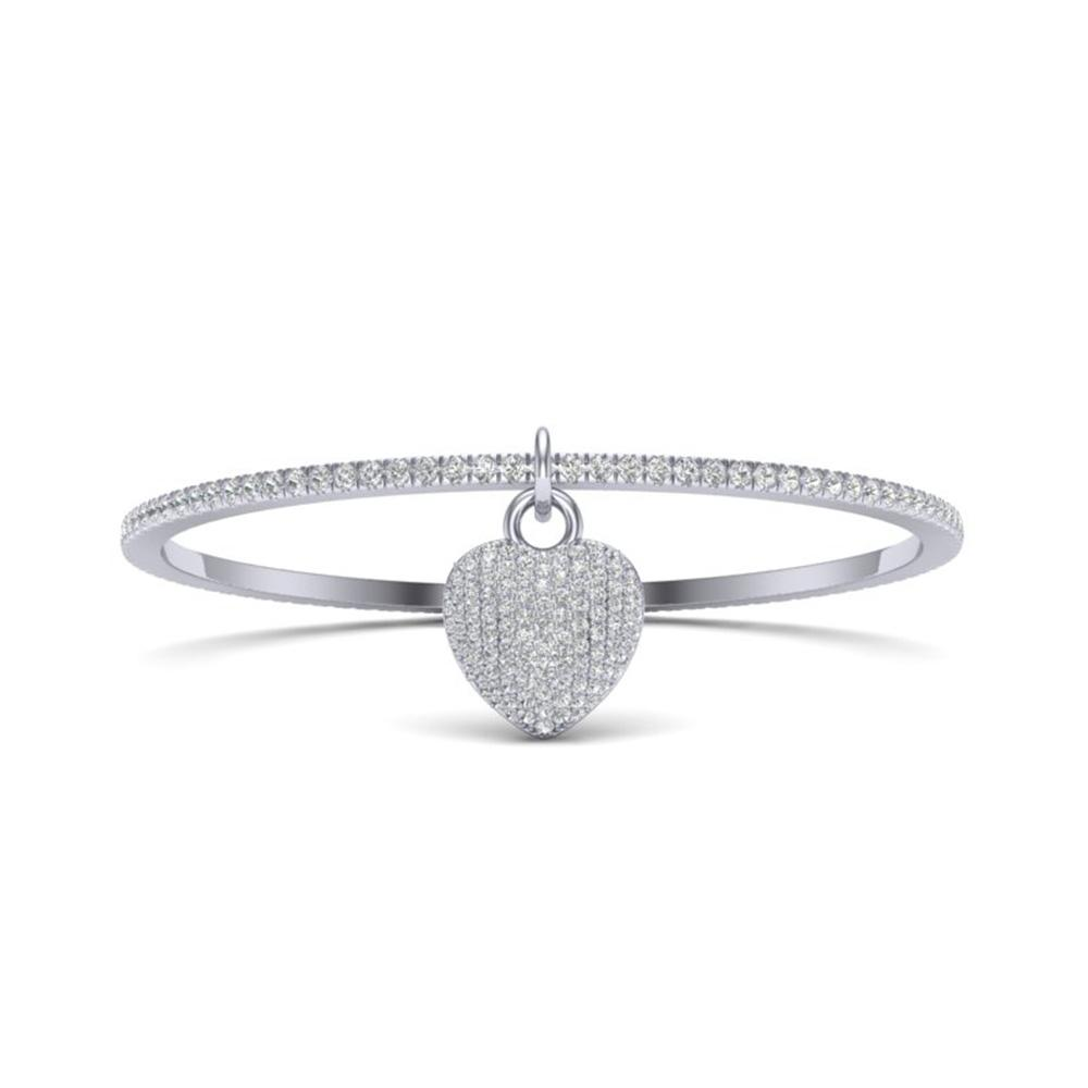 3.50 ctw Micro Pave Diamond Bangle 14k White Gold - REF-259Y6X