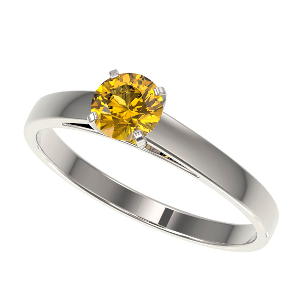 0.54 ctw Certified Intense Yellow Diamond Engagment Ring 10k White Gold - REF-60N3F