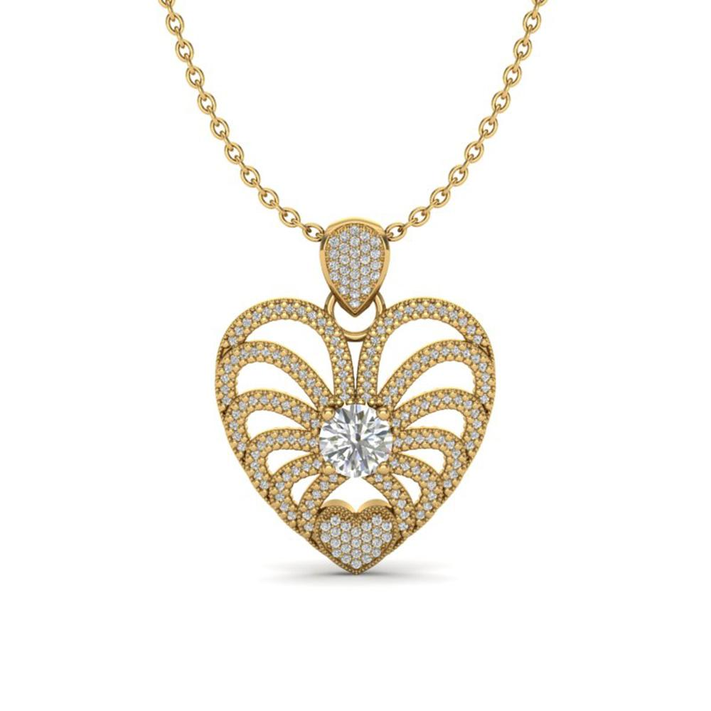 3 ctw Micro Pave VS/SI Diamond Certified Heart Necklace 14k Yellow Gold - REF-477G3W