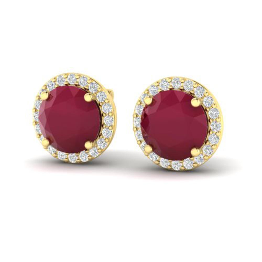 4 ctw Ruby & Halo VS/SI Diamond Certified Micro Earrings 18k Yellow Gold - REF-80Y2X