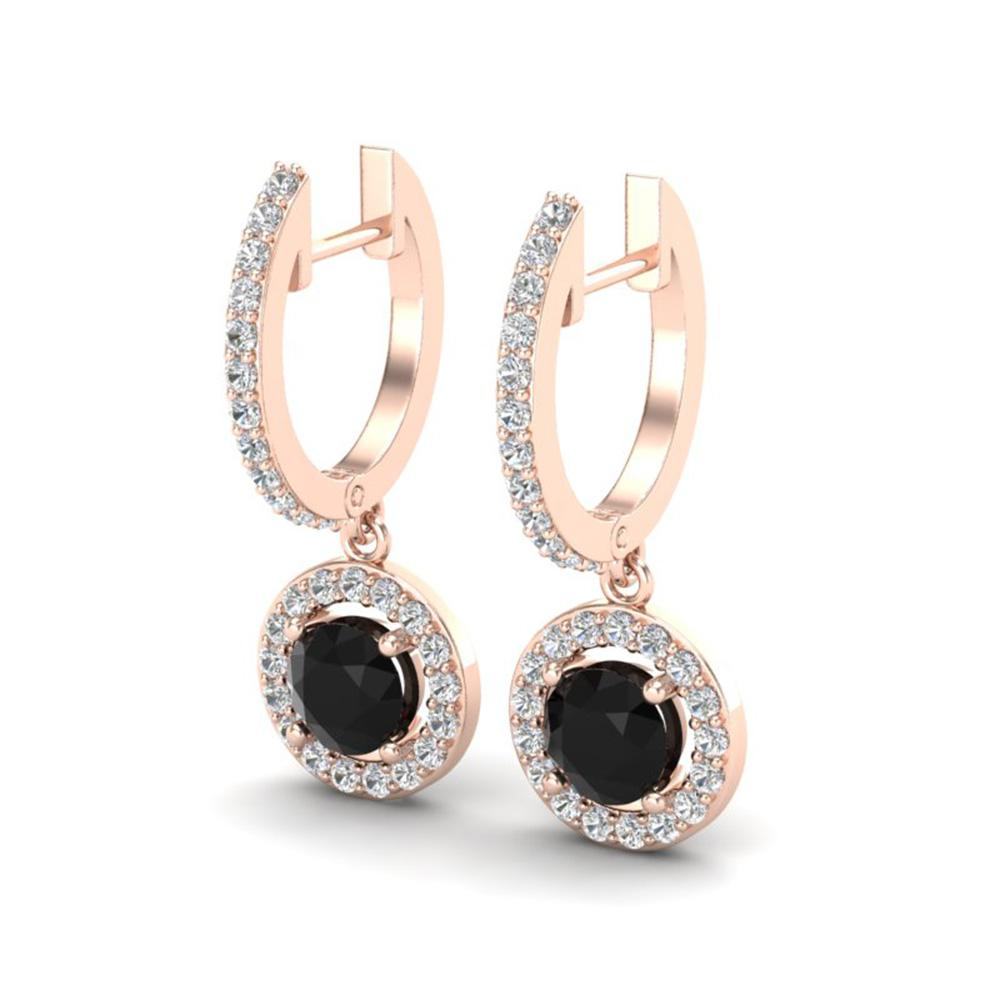 1.75 ctw Micro Pave VS/SI Diamond Certified Earrings 14k Rose Gold - REF-98R2K