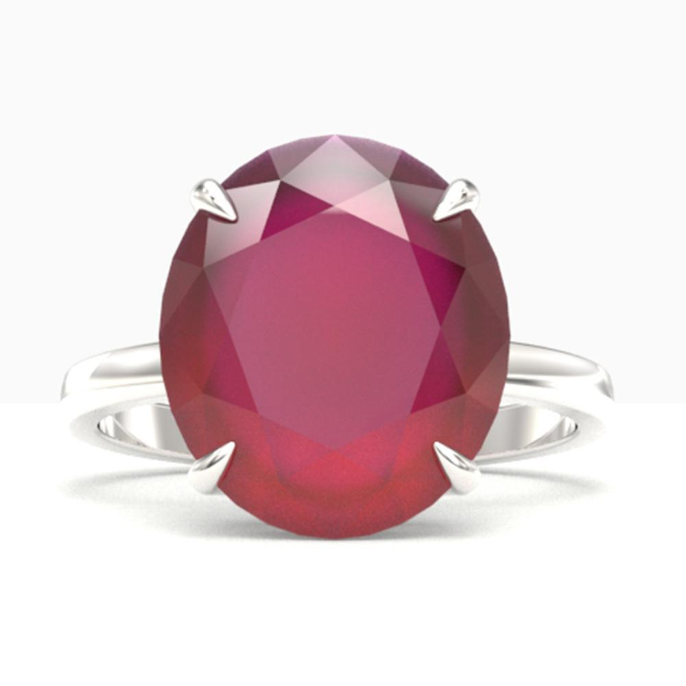 9 ctw Ruby Designer Solitaire Engagment Ring 18k White Gold - REF-143A6N