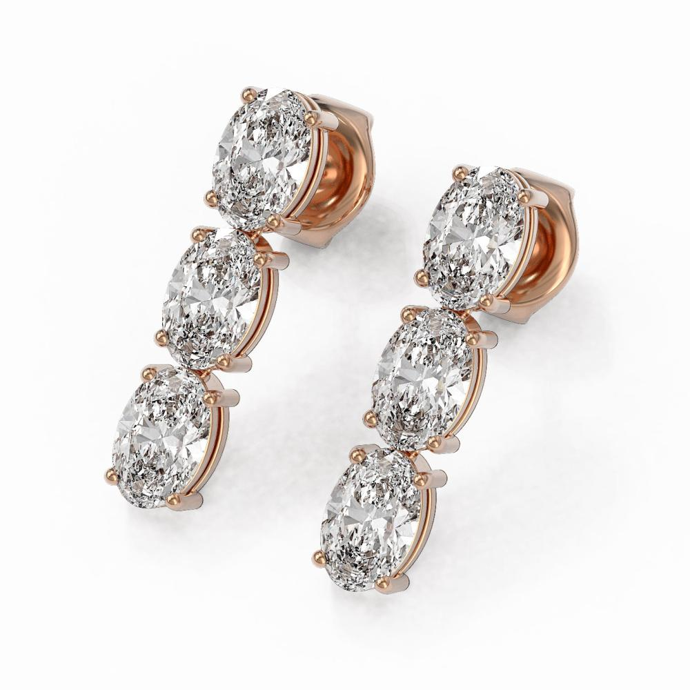 2 ctw Oval Cut Diamond Designer Earrings 18K Rose Gold - REF-230R3K
