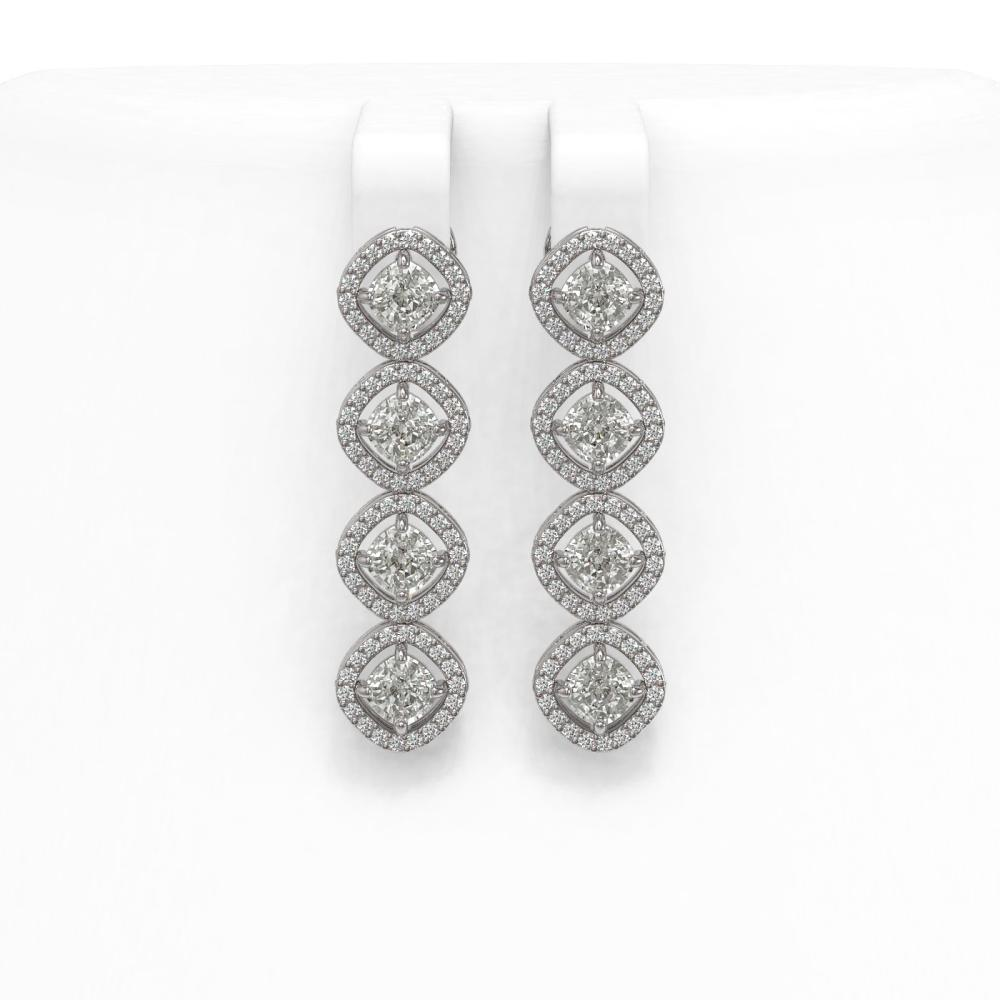 3.84 ctw Cushion Cut Diamond Micro Pave Earrings 18K White Gold - REF-337N5F