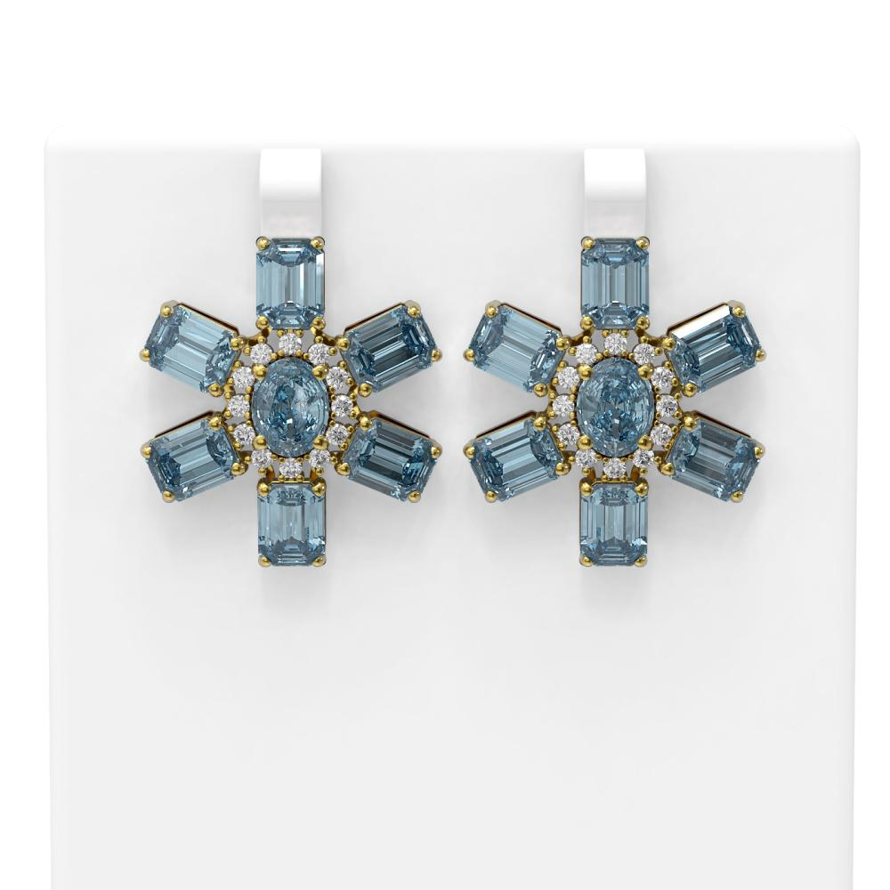 31.19 ctw Blue Topaz & Diamond Earrings 18K Yellow Gold - REF-210N2F