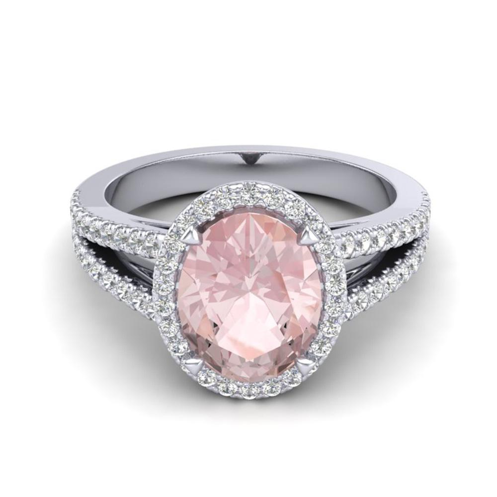 3 ctw Morganite & Micro VS/SI Diamond Halo Ring 18k White Gold - REF-86X2A
