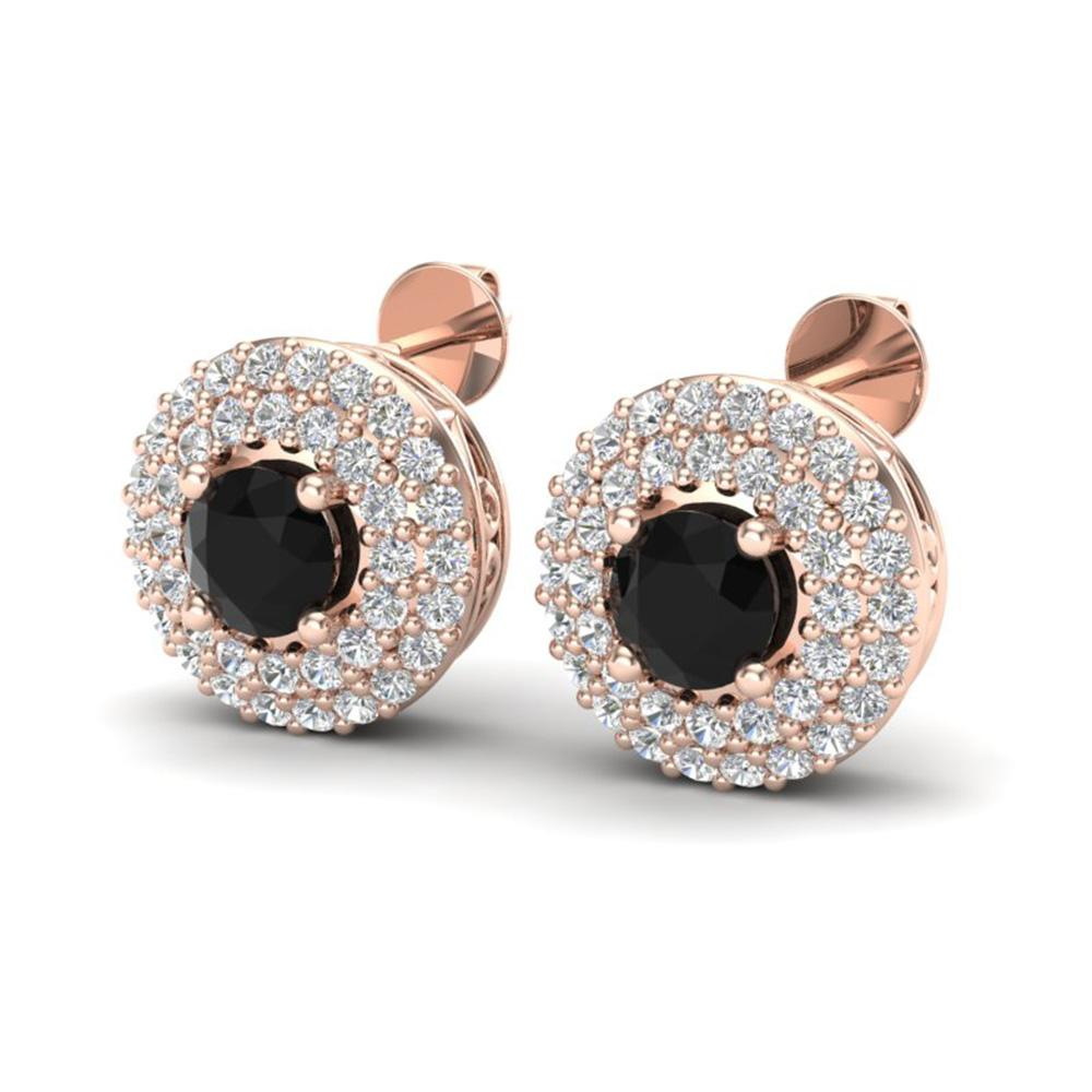 1.40 ctw Micro VS/SI Diamond Designer Earrings Halo 14k Rose Gold - REF-77W6H