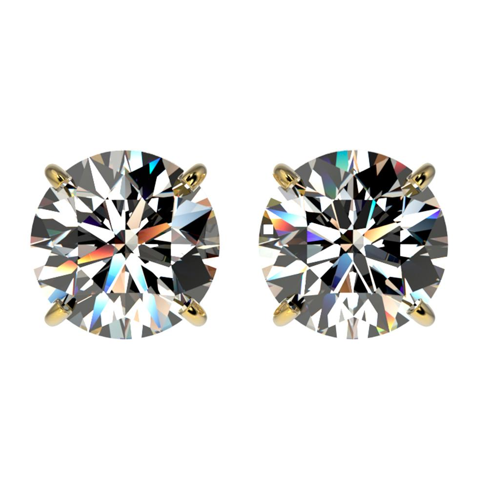 2.09 ctw Certified Quality Diamond Stud Earrings 10k Yellow Gold - REF-256K3Y