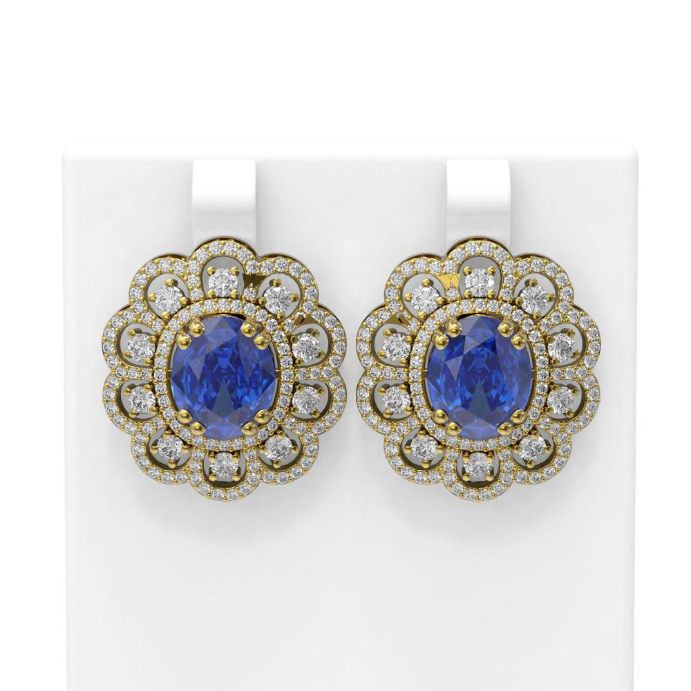 12.21 ctw Tanzanite & Diamond Earrings 18K Yellow Gold - REF-518R2K