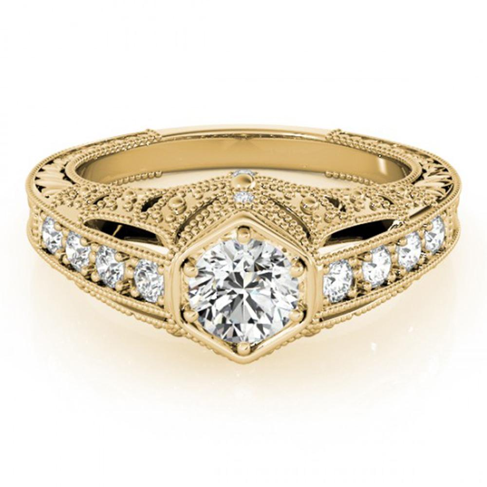 0.65 ctw Certified VS/SI Diamond Solitaire Antique Ring 14k Yellow Gold - REF-87K5Y